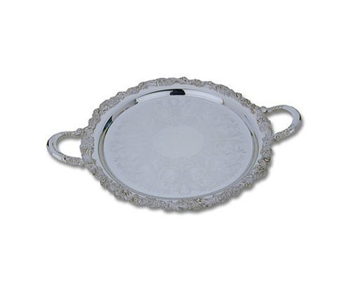 Reed & Barton Sheffield Collection 15-Inch Silver-plated Burgundy Round Tray Burgundy Silver Plated