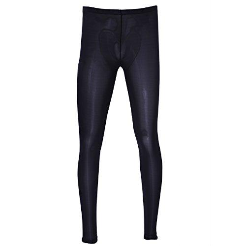 FEESHOW Men's Ice Silk Long John Sport Running Tights Thermal Underwear Pajamas Pants Leggings Black M (Silk Low Rise Long Underwear)