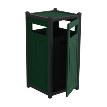 Recycled Plastic Square Two-Tone Panel Trash Container With Access Door - 33-Gal. - Side-Load - Evergreen - Black - Load Door Side Access Trash