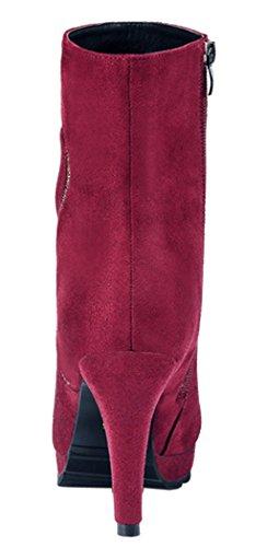 Laikakingdom Suede High Heels Fahsionable Shoes Design For Women(8 B(M) US, Red)