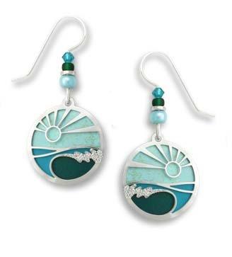 Round Earrings Monogrammed - Adajio by Sienna Sky Round Scenic Aqua Ocean Wave Earrings 7526