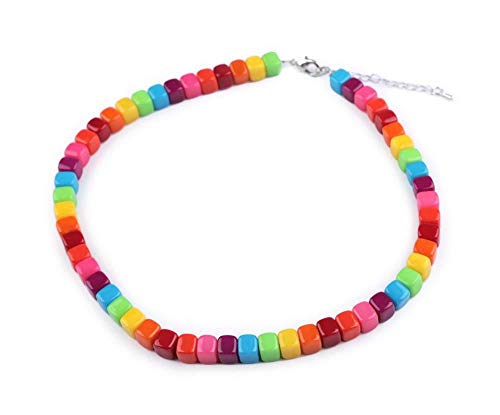 1pc Multicolor Glass Cube Bead Necklace, Necklaces, Jewellery