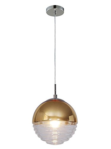 (Summitland 9.5 inch Pendant with Half-Hemisphere Nickel and Brass Plated Shade)