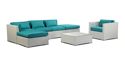 Kardiel  White Wicker Outdoor Garden Furniture Patio Sofa...