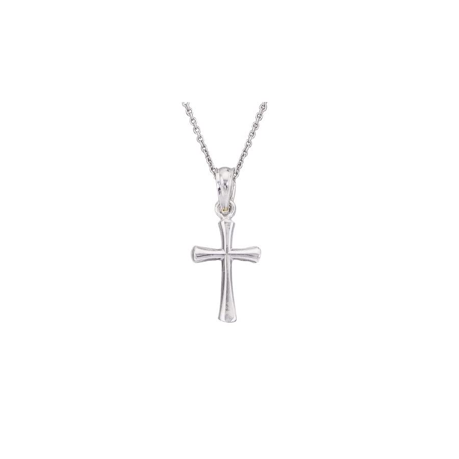 14k White Gold Boys & Girls Small Cross Necklace