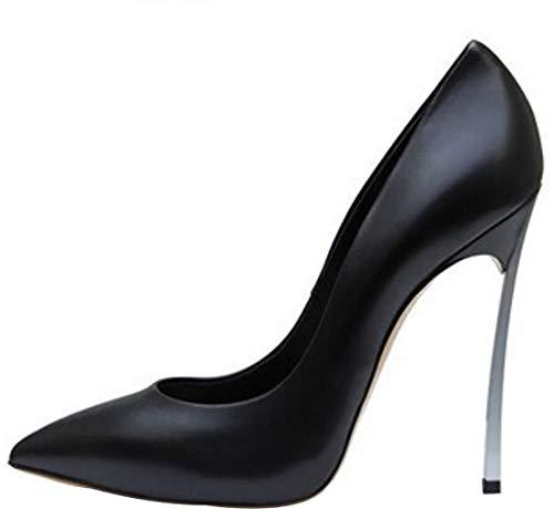 Col Nero Pu Su Tacco Scarpe Donna Calzature Punta toe Calaier Scivolare Linjie 12cm 4Pqwx87