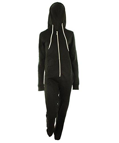 schwarz ML - 40-42 Dayna Neu Damen Unisex Fleece ausgekleidet Plain Farbige Kapuzen mit Cuff Reißverschluss vorne Damen Jumpsuit Overall Onesie