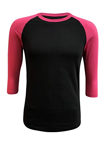 ILTEX Raglan Tshirt 3/4 Sleeve Athletic Baseball Jersey Unisex (Black/Pink, ()