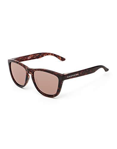 HAWKERS Gafas de Sol ONE Carey Black, para Hombre y Mujer, con Montura Havana Style y Lente Rosa con Efecto Espejo, Proteccion UV400