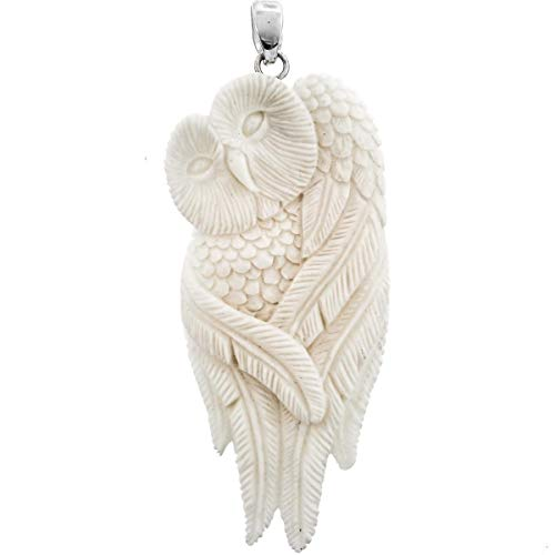 3'' OWL Feather HANDCARVED Bison Bone Carving 925 Sterling Silver Pendant YE-1581