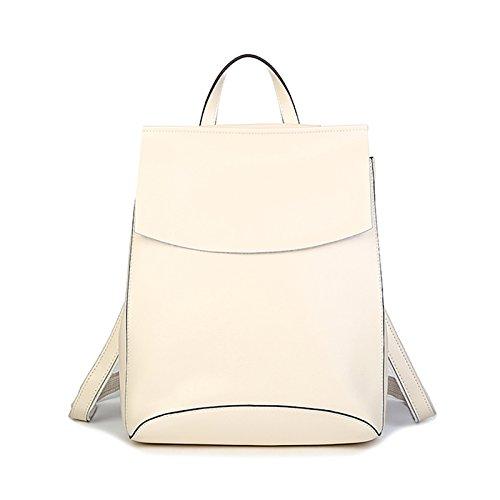 Rice Weiß Large Leder Rucksack lady Umhängetasche Rindsleder koreanische Edition einfach Casual Mode Akademie wind Schultasche, Reis weiß Große
