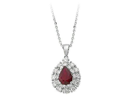 Pendentif Rubis Ovale et Diamants-Femme- or Blanc 204P0095