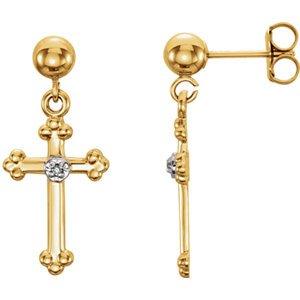 14K jaune diamant .01carat or Boucles d'oreilles en forme de croix avec zircone
