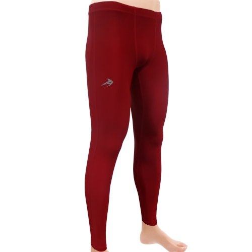 Compression Pants Men's Tight Base Layer Leggings, Medium,  Maroon