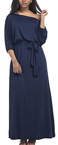 Fashional Slim Long Shoulder Party Dark Fitted Sleeved Dress Maxi Blue One Jaycargogo Women TfCxnw5qZZ