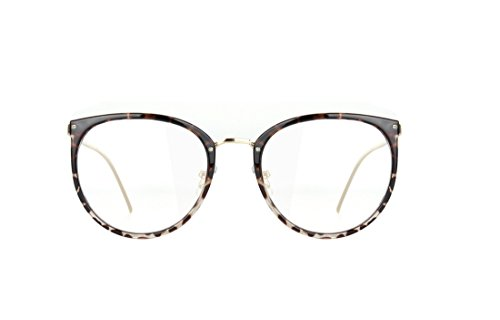 Amomoma Womens Fashion Clear Lens Round Frame Eye Glasses AM5001 Leopard Frame/Clear Lens