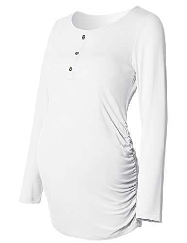 Maternity Top Ruched Sides Long Sleeve Round Neck Button Front For Women Mama Casual Pregnancy Clothes White (Flexibles Maternity Wrap Top)