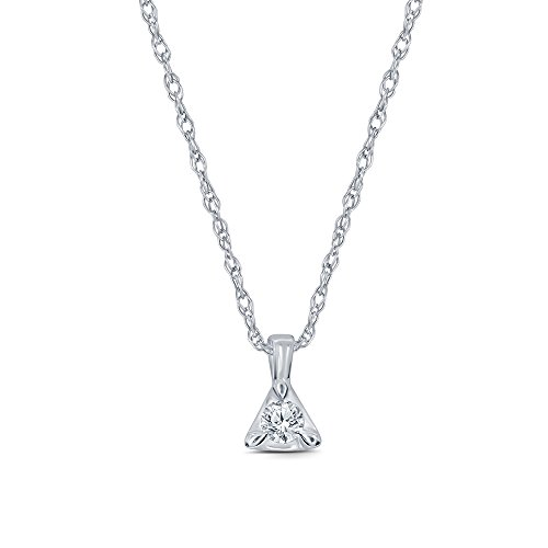 La Joya 1/10ct Round White Diamond 10K White Gold Solitaire Triangle Tiny Pendant Christmas Jewelry ()