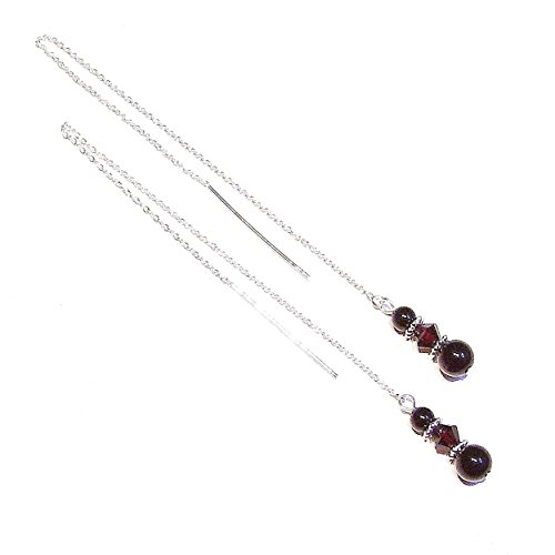 (Black Onyx and Dark Red Swarovski Crystal Sterling Silver Pull Through Earrings 176mm)