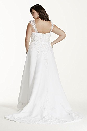 e58afd9eb720c ... A-line with Chiffon Split Front Overlay Style AI13010527, Ivory, 18W.  ; 