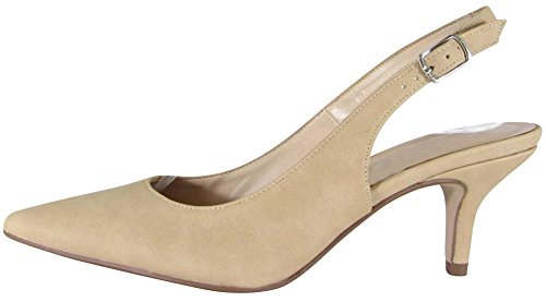 Cambridge Select Women's Closed Pointed Toe Buckled Ankle Slingback Mid Kitten Heel Pump,10 B(M) US,Natural Nbpu by Cambridge Select