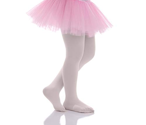 Girls Ivory Tights - Girls Tights - Kids Opaque Microfiber Pantyhose Solid Footed Leggings - for Dance School Ballet Uniform - by Topfit