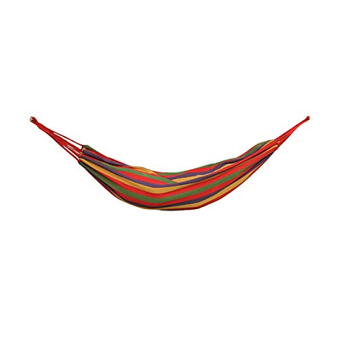 Arctic Monsoon Double Hammock, 2 Person Portable Cotton Fabric Canvas Hanging Bed Hammock, Red