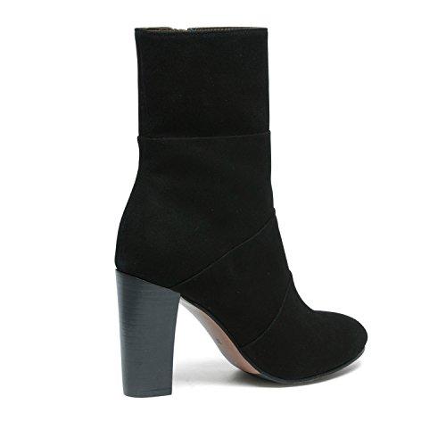 Kurze Veloursleder-Stiefel mit Absatz schwarz