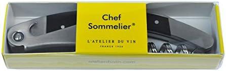 L'Atelier du Vin 095015-1 Chef sacacorchos Sommelier, Stainless Steel, Gris Y Negro, 11x3x1.6 cm