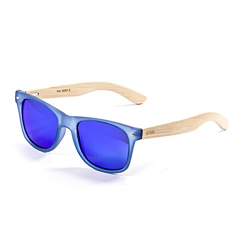 Ocean Sunglasses Beach Lunettes de soleil Black Frame/Wood Natural Arms/Revo Green Lens m2DGnC0