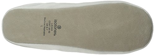 Isotoner Women's Satin Ballerina Slipper White L9AbTU