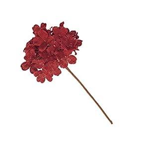 Lovely Red Burlap Hydrangea, Decorative Faux Flowers, Artificial Floral Arrangements, Home and Garden Décor, 13-inch 39