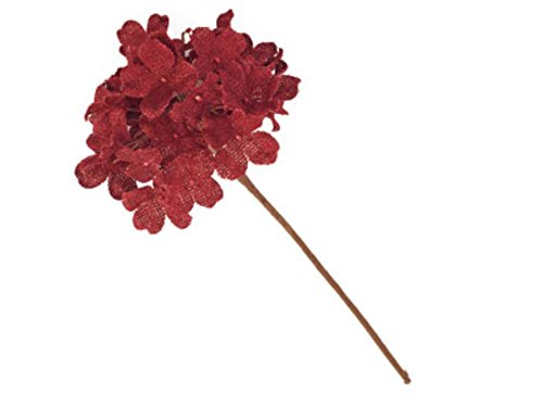 Lovely Red Burlap Hydrangea, Decorative Faux Flowers, Artificial Floral Arrangements, Home and Garden Décor, 13-inch