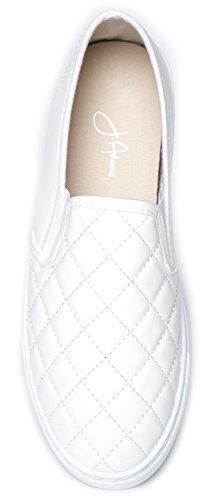J. Adams Round Toe Slip On Sneaker - Entzückender gepolsterter Glitzer Schuh - Easy Everyday Fashion - Glimmer von Weißer Pu
