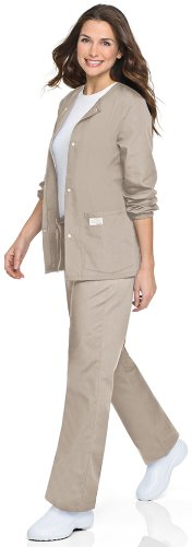 Landau ScrubZone by Women's Warm up Solid Scrub Jacket Medium Sand