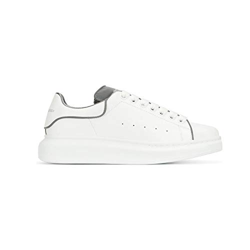 _ALEXANDER MCQUEEN Women's&Men's White Grey Leather Reflective Oversized Leather Casual Sports Shoes Fashion Sneakers Walking Shoes (EU38)