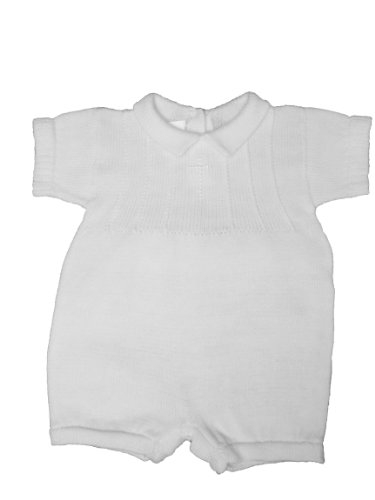 White 100% Cotton Boy's Christening Baptism Knit Romper w/Cross 9 Month