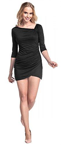 Glamour Empire mujer jersey Vestido. Mangas cortas frente plisada. 995 Negro