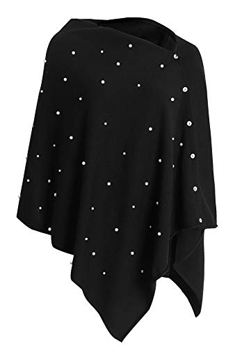 Womens Versatile Buttoned Poncho with Beading Black