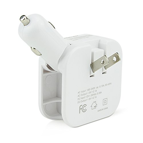 ChiTronic 2 in 1 Dual USB Smart Quick Charging Home Car Universal Charger Adapter 2.1A Output for Cellphones Tablets White