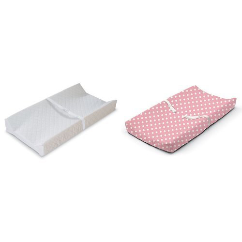 Summer Infant Contoured Changing Pad White with Changing Pad Cover Days Pink by