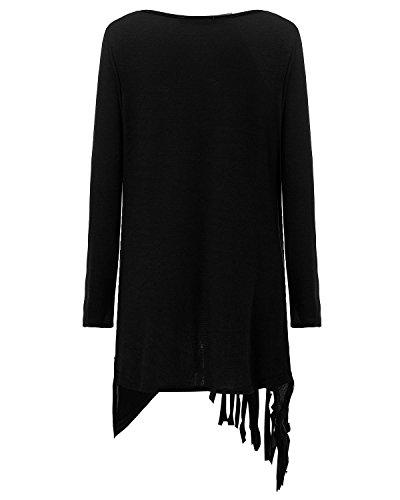 StyleDome Mujer Suéter Jersey Asimétrico Blusa Camiseta Mangas Largas Casual Elegante Borlas Escote Buche Oficina Negro