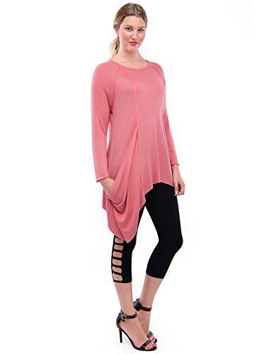d7bc38c178b TAM WARE Womens Handkerchief Hem Long Sleeve Tunic Top (Made in USA ...