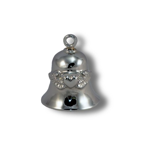(Angel Wings w/Heart, Chrome Plated Brass Ride Bell #CB26)