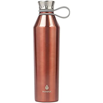 Amazon Com Manna Vogue Metallic Stainless Steel Double Walled Vacuum Insulated 17 Oz Water Bottle No Sweat Bpa Free Keeps Drinks Hot 12