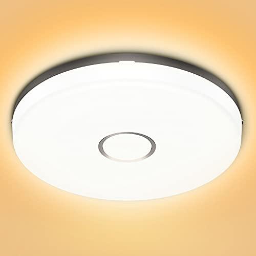 Olafus Led-plafondlamp, 18 W, IP54 waterdicht, warmwit, 2700 K, 1600 lm, badkamer, plafondlamp, vochtige ruimte, Ø 24 cm…