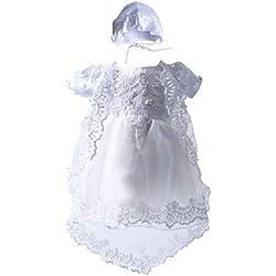 BabyPreg Baby Girls Christening Baptism Gown Birthday Party Dress (White, 3M / 0-6 Months)