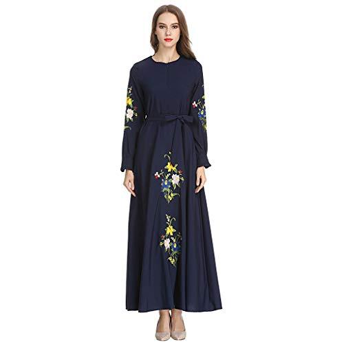 (HYIRI Plus Szie Muslim Islam Jilbab Dress,Women's High Waist Longsleeve Arab Dress)