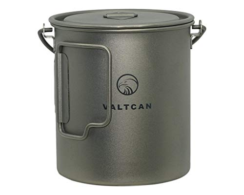 Valtcan 750ml Titanium Pot Backpacking Camping Open Fire Mug Cup with Lid and Stuff Sack