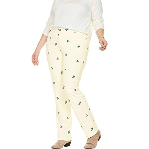 - Woman Within Plus Size Corduroy Straight Leg Stretch Pant - Ivory Holly, 18 W